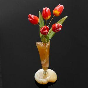 Сувенир «Тюльпаны в вазе», 5 цветков, 11?17.5 см, селенит 1462673