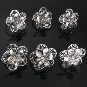 Набор колец для салфеток «Цветы», 6 шт, D=5.5 см, 7?7?7 см, с кристаллами Сваровски   4552523