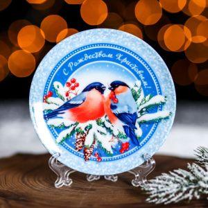 Тарелка «Снегири», d=12.5 см