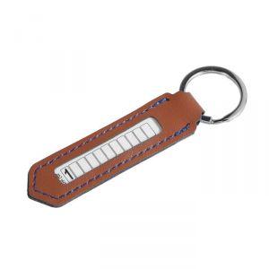 Брелок для ключей с номером телефона, кожа PU, бежевые нити 4310298