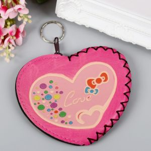 "Брелок кошелёк кожзам ""Сердечко love"" розовый 10х12 см 2856876"