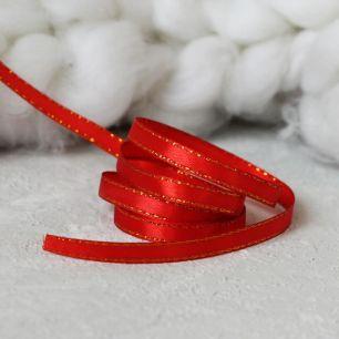 Лента атласная с люрексом 6 мм, красная с золотом