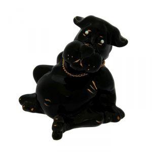 """Копилка """"Собака Толстопуз"""", глазурь, чёрный цвет, 16 см"""