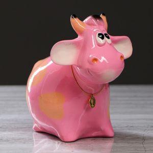 """Копилка """"Бычок"""", розовый, 16 см, микс 627434"""