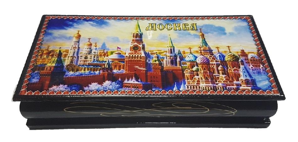 Шкатулка деревянная Кремль Москва 8,5х17 см