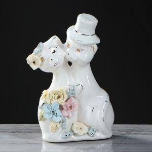 """Копилка """"Жених и невеста"""", глазурь, белый цвет, 18 см"""