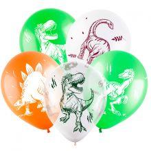 """Динозавры, 12"""", ассорти,пастель-кристалл, 4 стор., 100 шт"""
