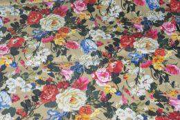 Цветочки на бежевом джинса отрез 1м
