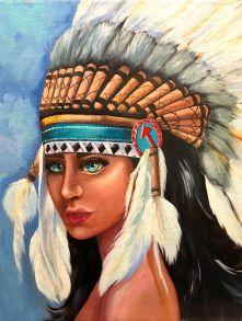 Алмазная мозаика «Индейская девушка» 50x65 см