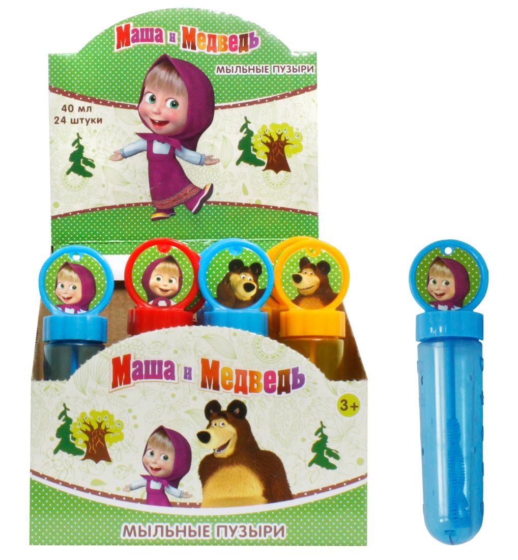 1toy Маша и Медведь, мыльные пузыри, колба с кругом на крышке, 40 мл