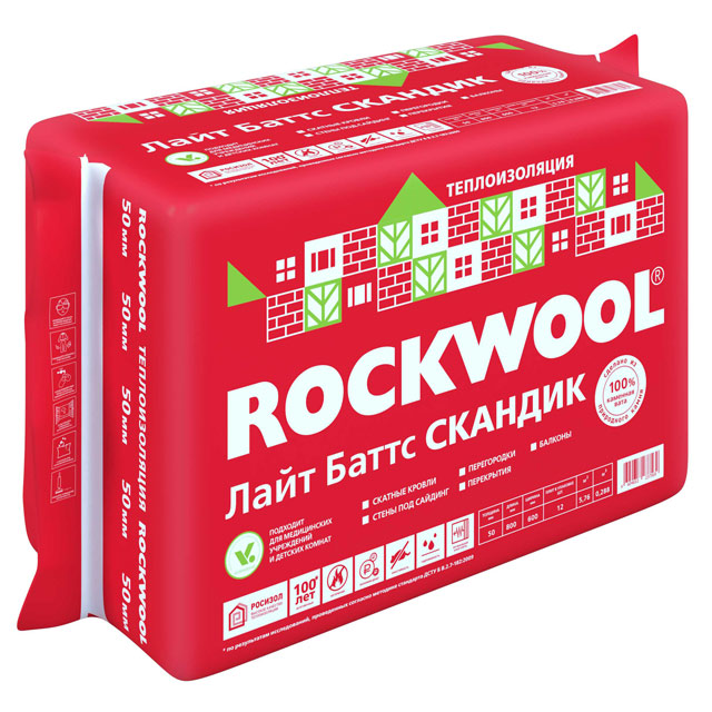 Утеплитель Rockwool ЛайтБаттс Скандик 800*600*100мм, 2.88м2, 0.288м (32 кг/м3)