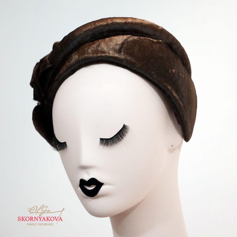 Меховая повязка каскетка из каракульчи