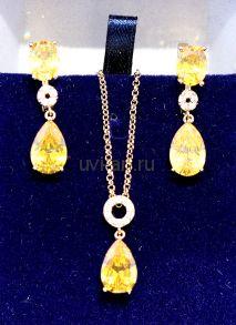 Комплект позолоченных украшений с лимонными цитринами - серьги и подвеска с цепочкой (арт. 880129)