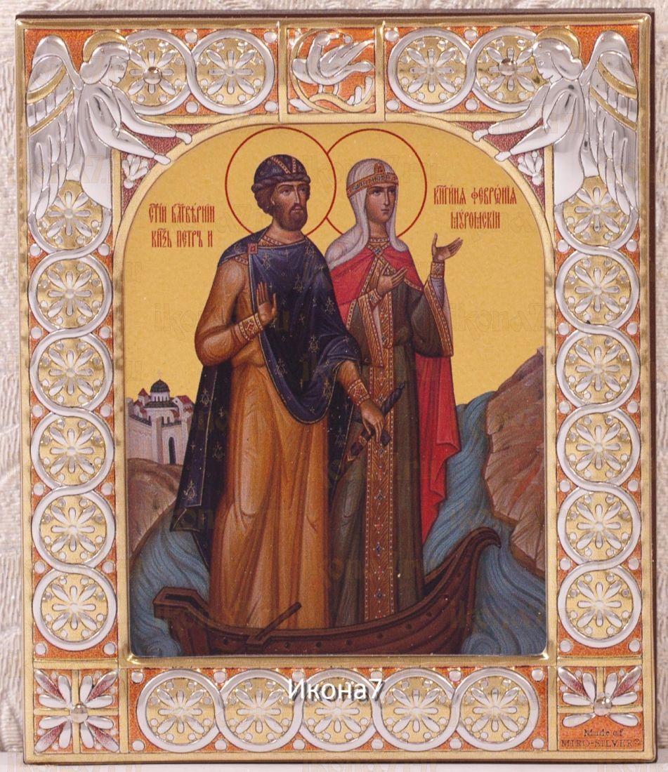 Икона Петр и Феврония Муромские (9х10,5см)