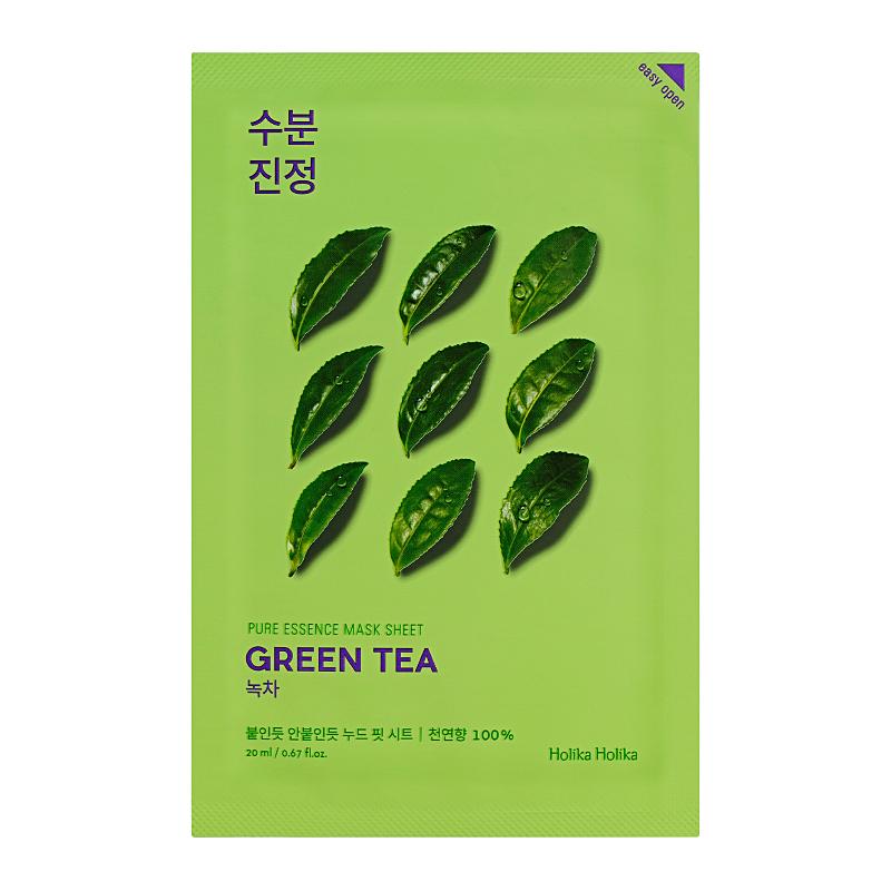 Противовоспалительная тканевая маска для лица с зелёным чаем Holika Holika Pure Essence Mask Sheet - Green Tea