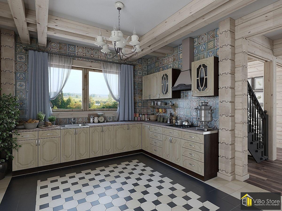 Настя-02. Классическая угловая кухня с фасадом береза
