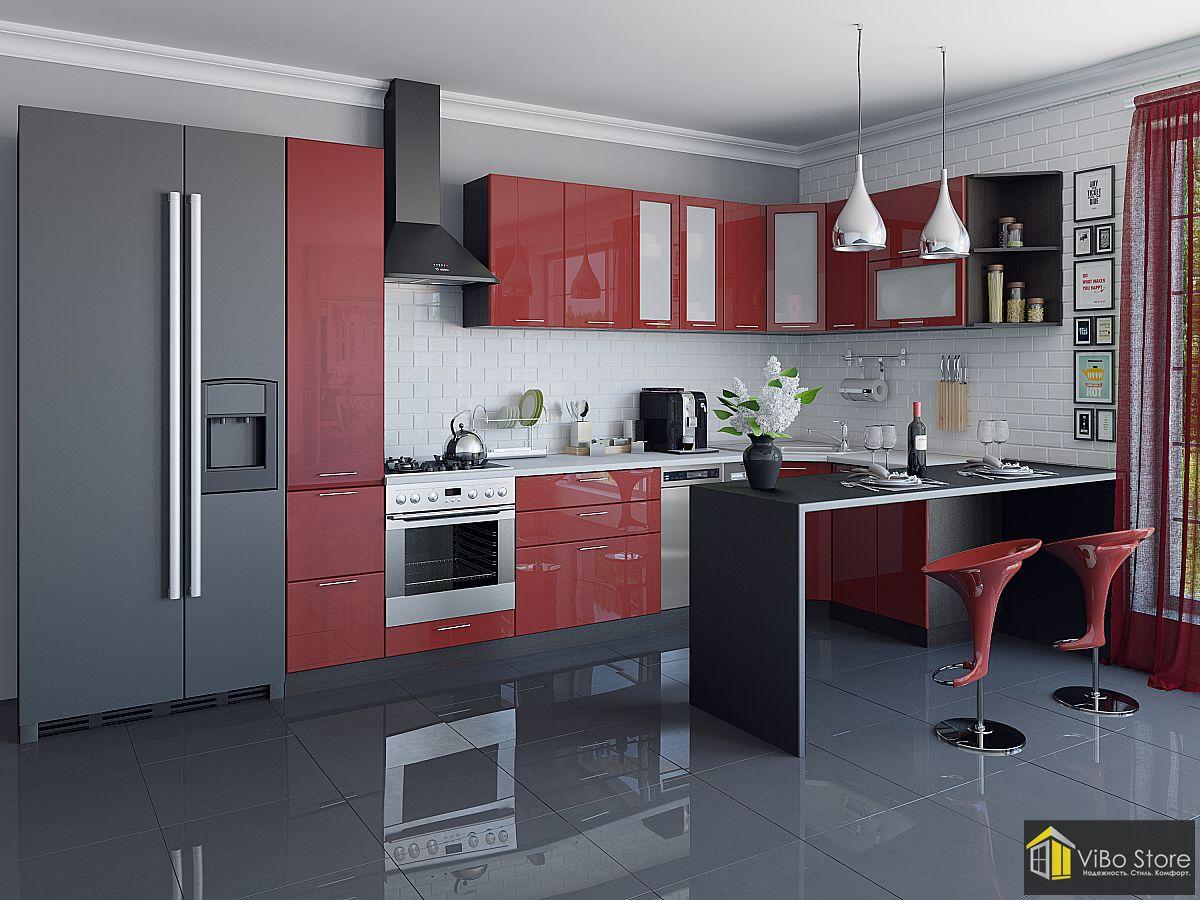 Валерия-М-05 21707. Современная кухня хай-тек с фасадом гранатовый металлик