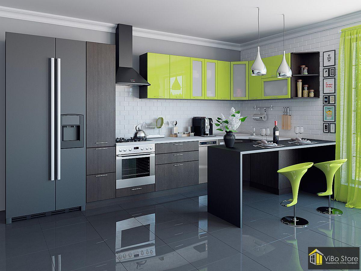 Валерия-М-05 21712. Современная модульная кухня цвет лайм венге