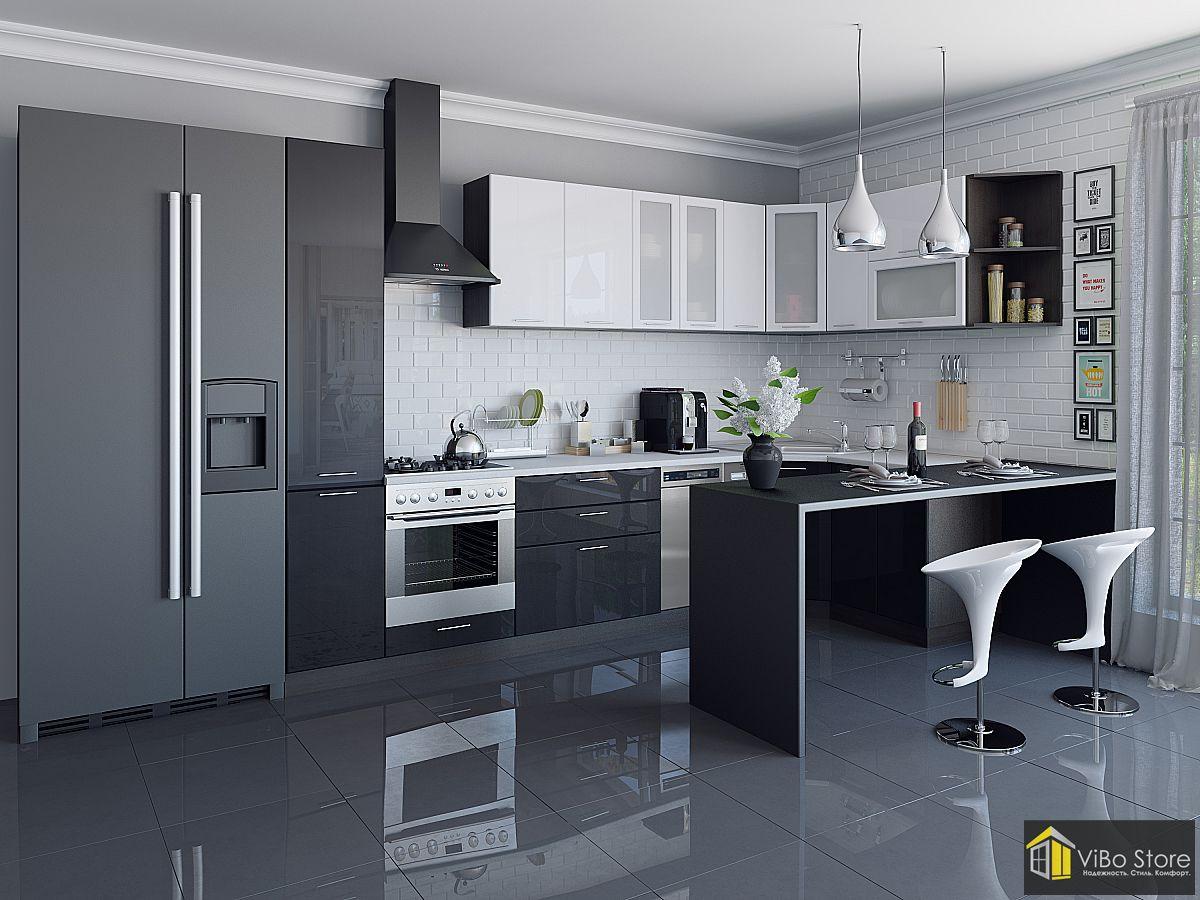 Валерия-М-05 21714. Стильная современная кухня в темных цветах