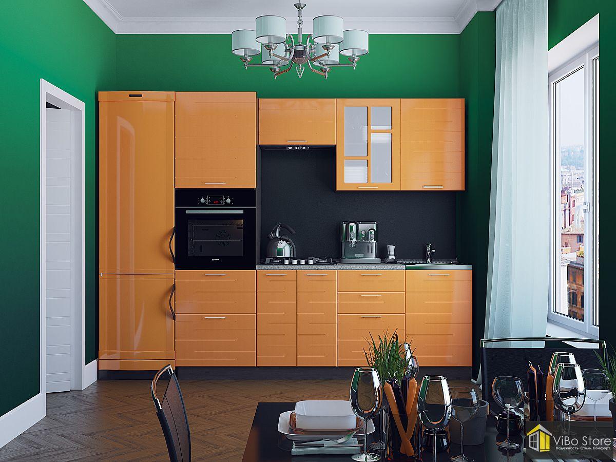 Техно-01 21775. Прямая модульная кухня с фасадом оранжевый металлик