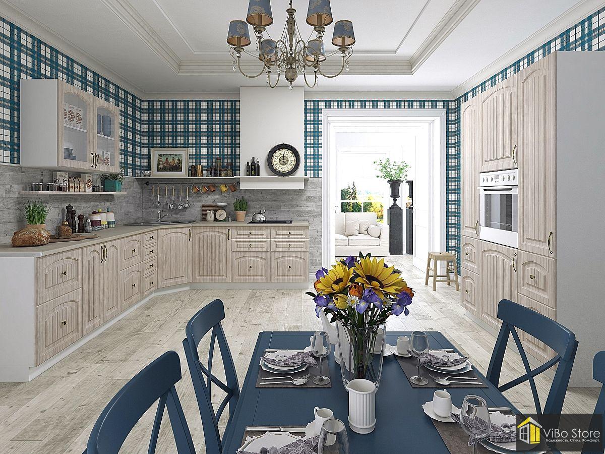 Кухня кантри прованс в светло серых тонах