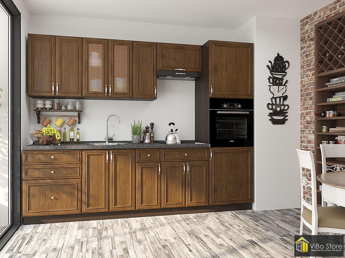 Прямая классическая кухня цвет венге