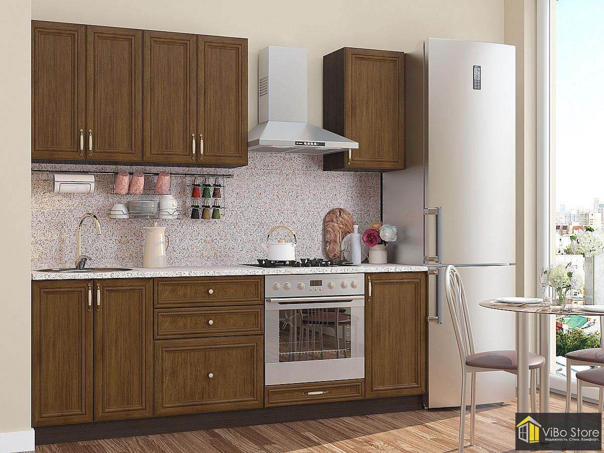 Классическая недорогая кухня с фасадом венге