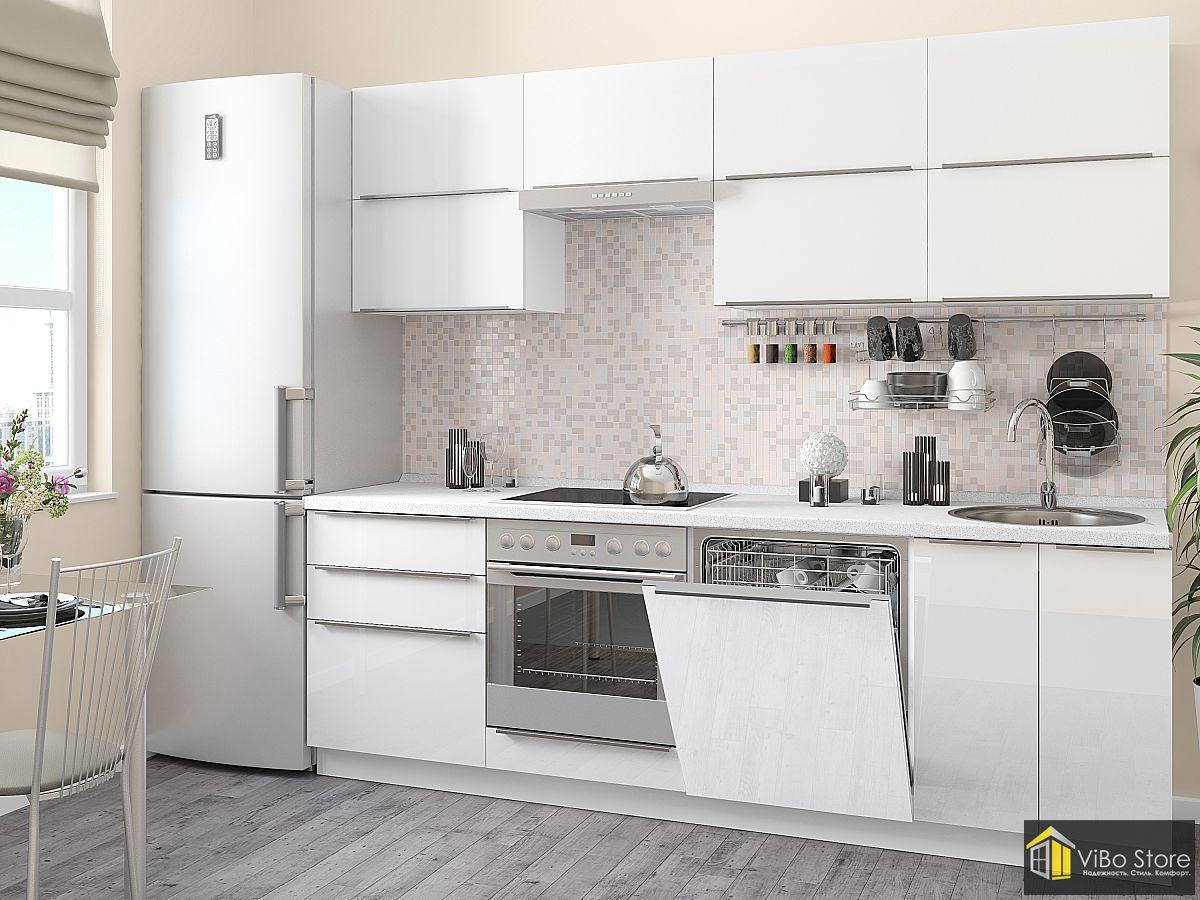 Белая модульная кухня с фурнитурой из нержавейки