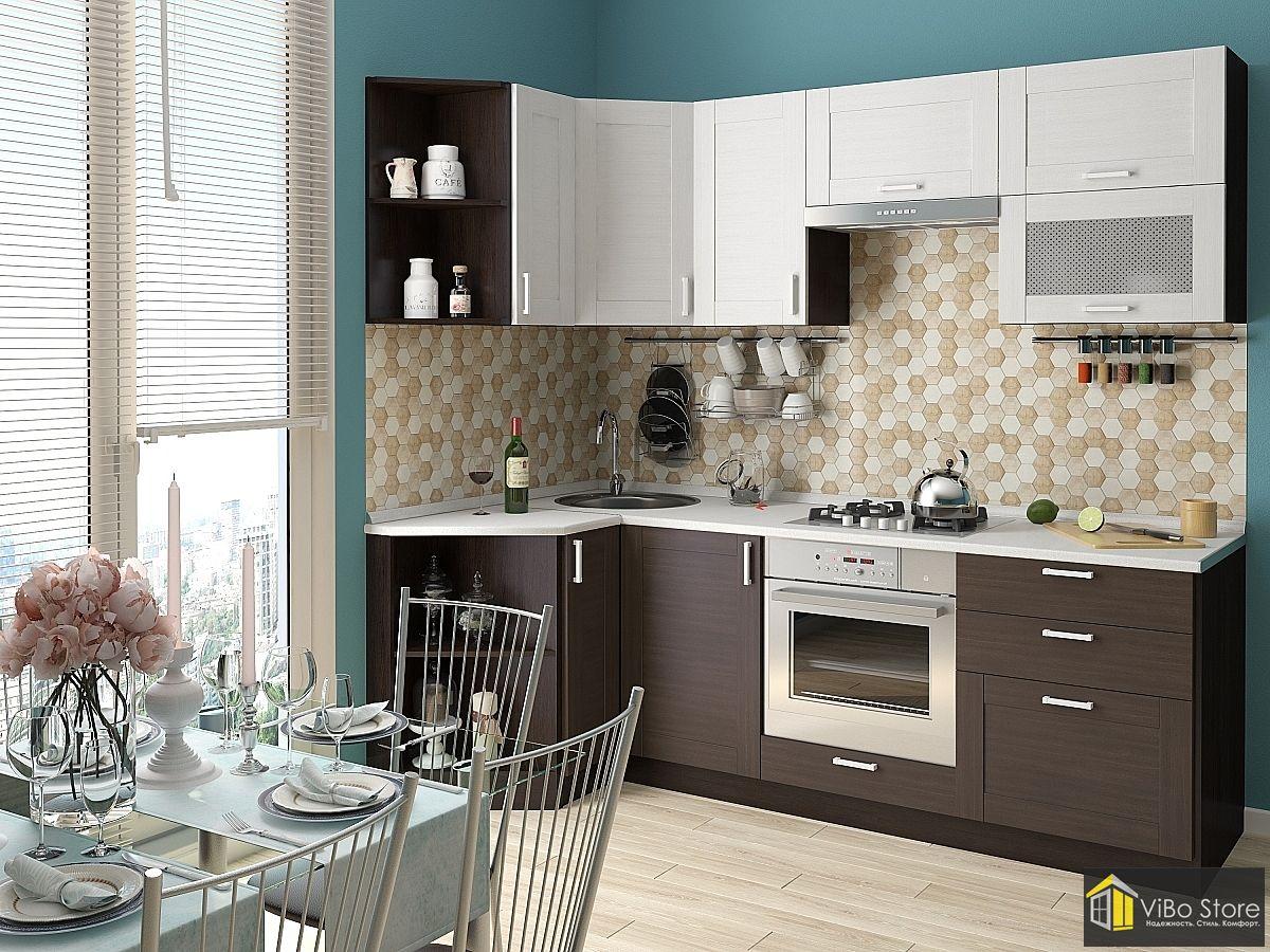 Современная недорогая кухня с темным фасадом венге