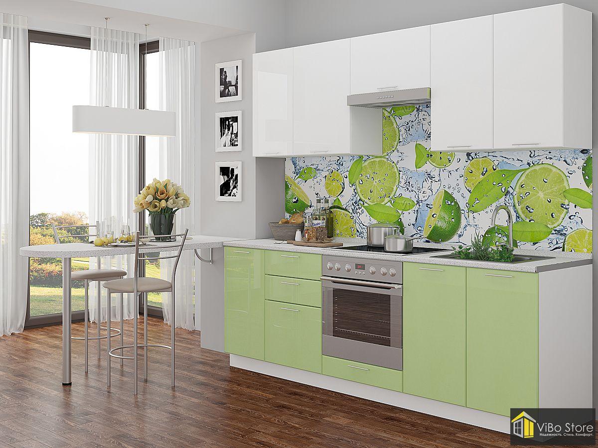 Кухня эконом-класса салатового цвета