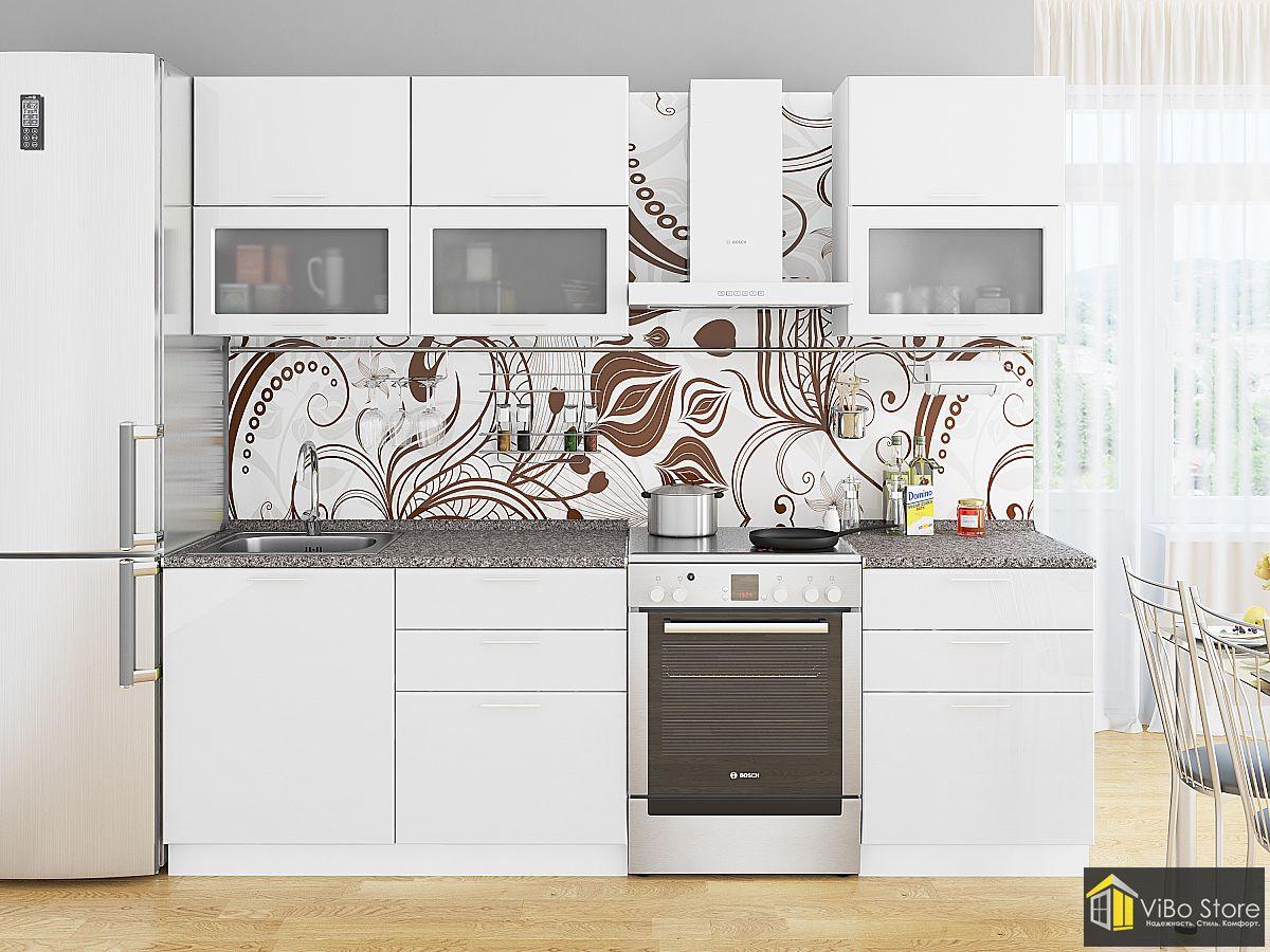 Стильная недорогая белая кухня