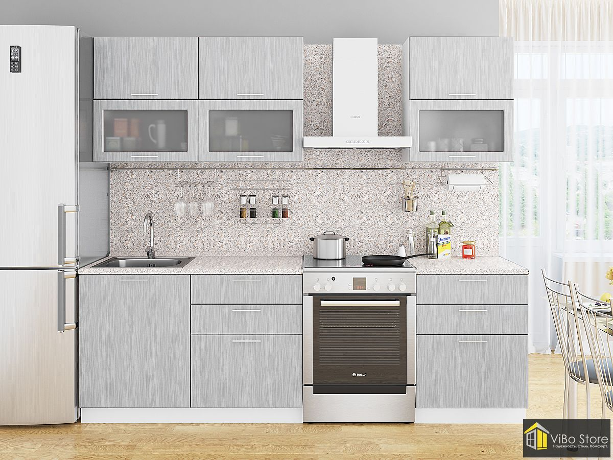 Модульная кухня серый металлик, дождь