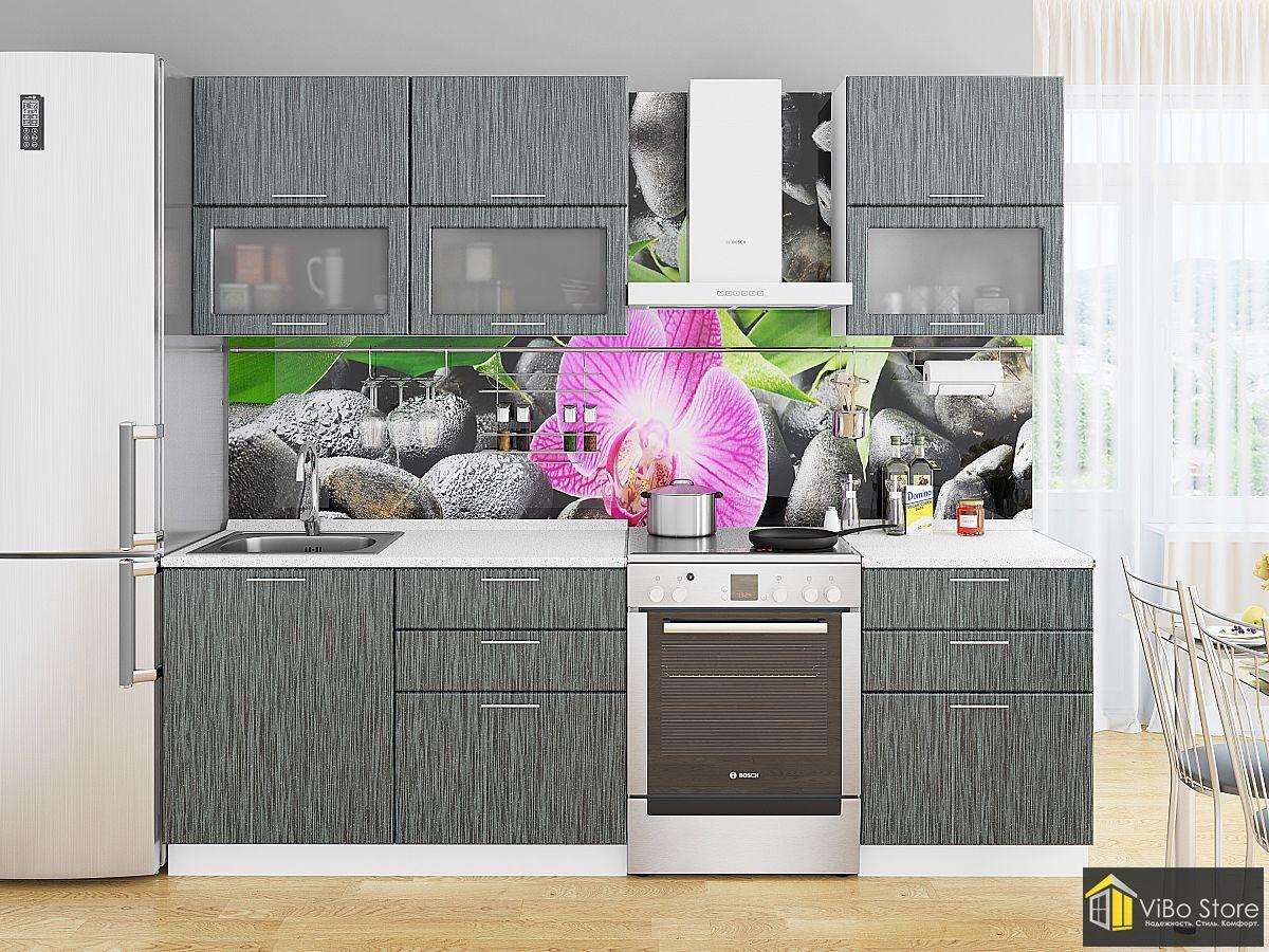 Красивая, современная кухня черный металлик дождь