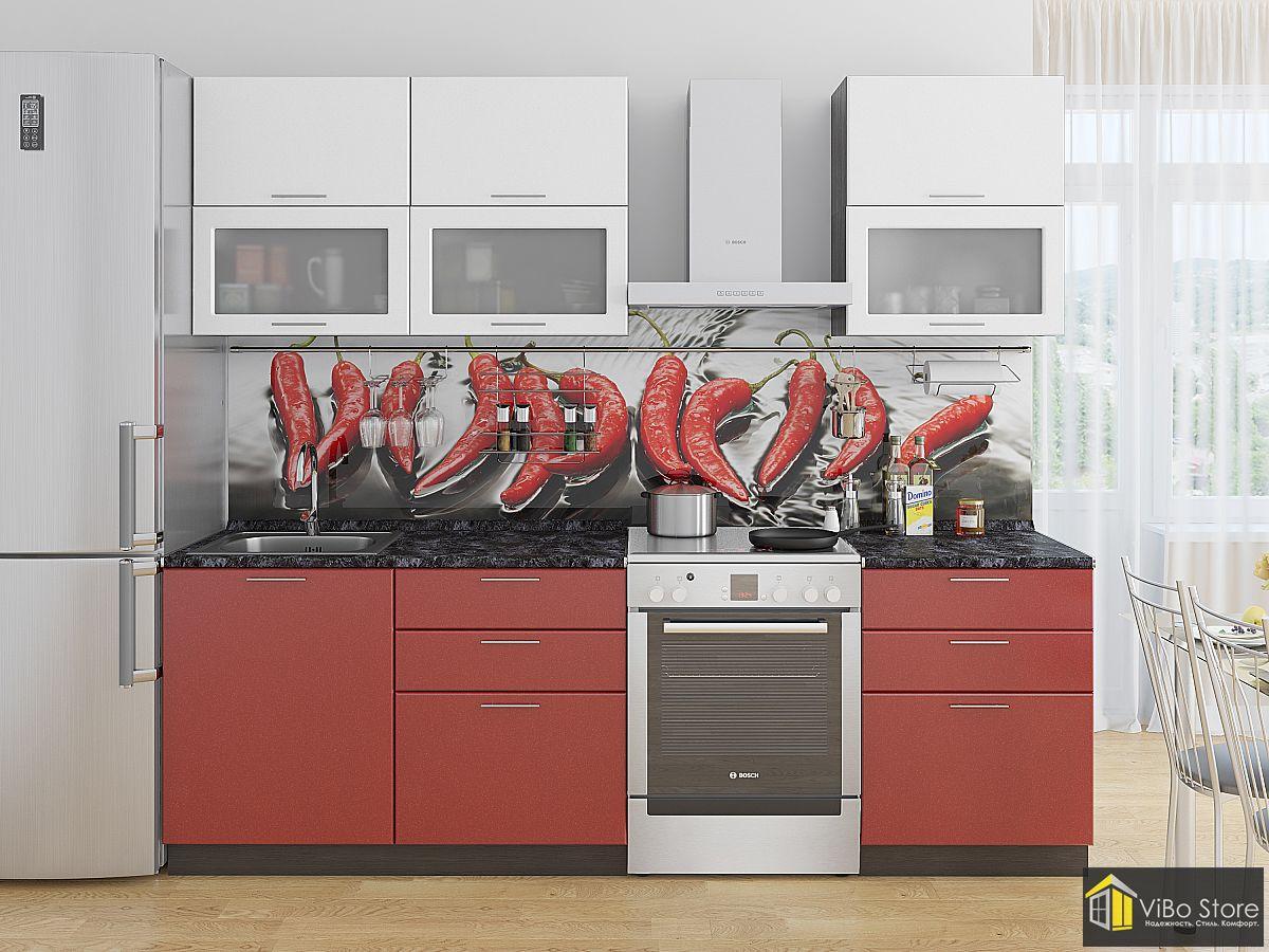 Бюджетная недорогая кухня красный металлик