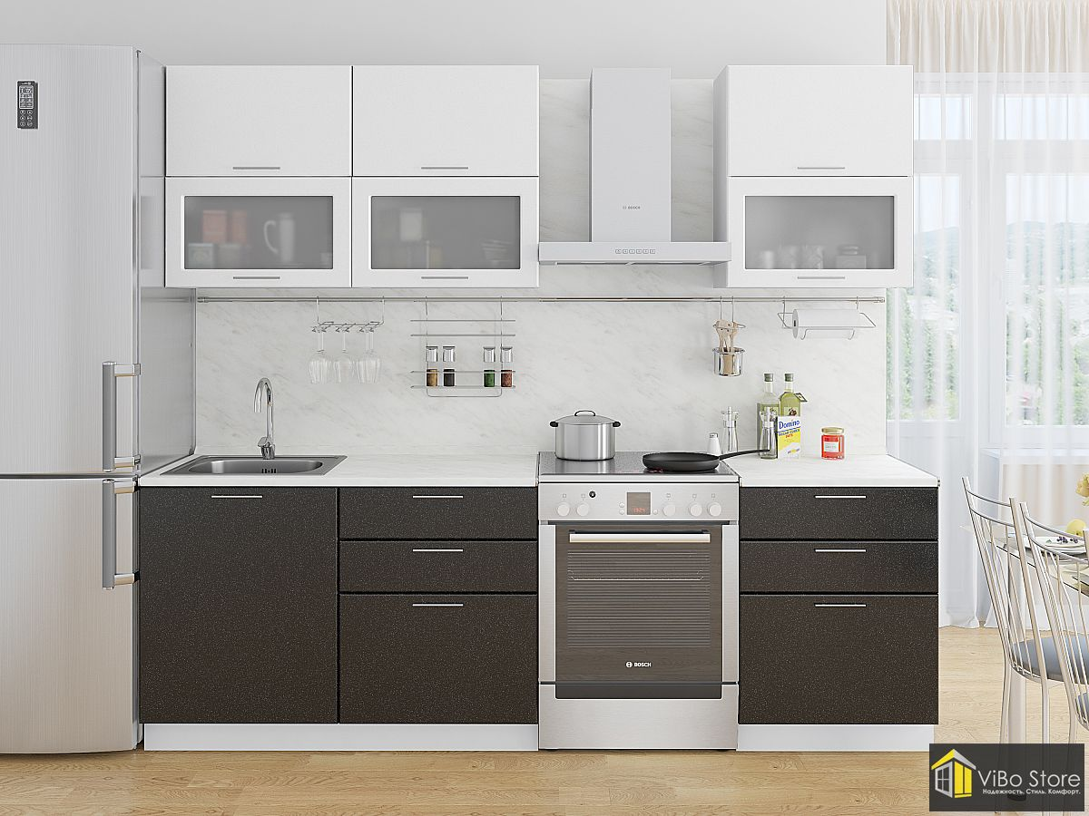 Недорогая прямая кухня белый и черный металлик
