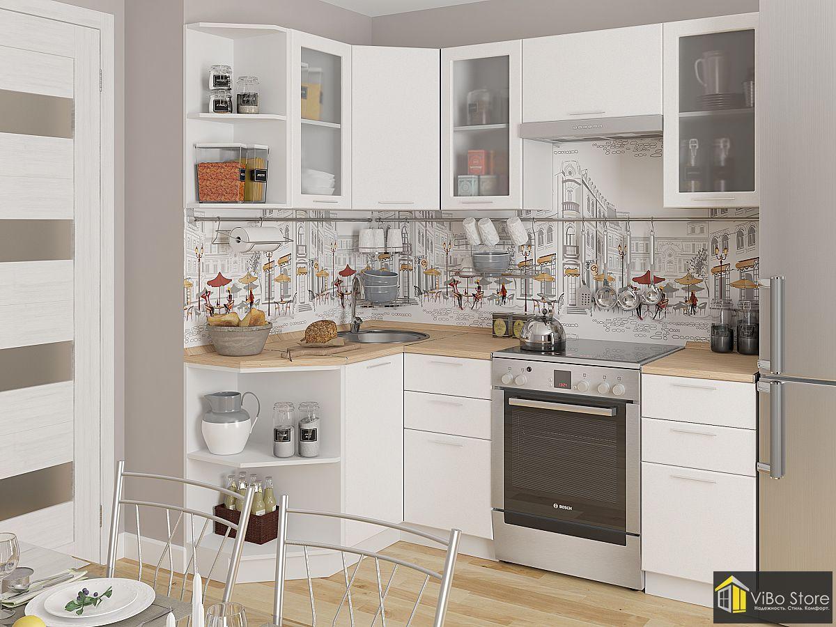 Недорогие кухни эконом класса белый металлик