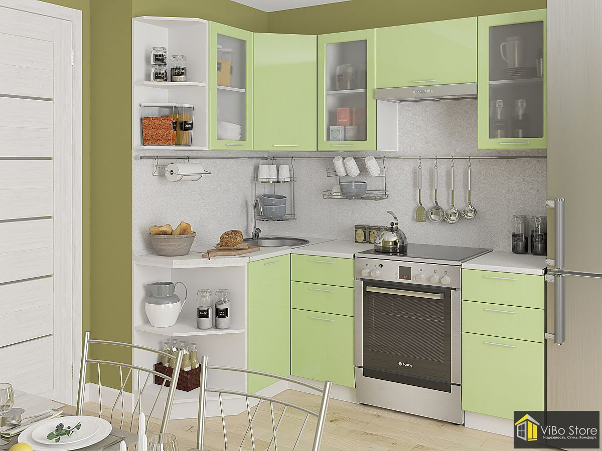 Эконом кухня салатового цвета с белым каркасом