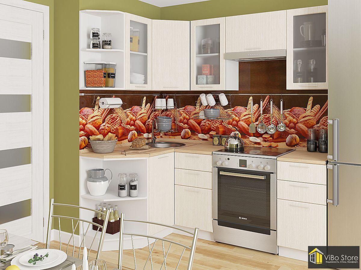Угловая кухня фасад беленый дуб 2140*1290