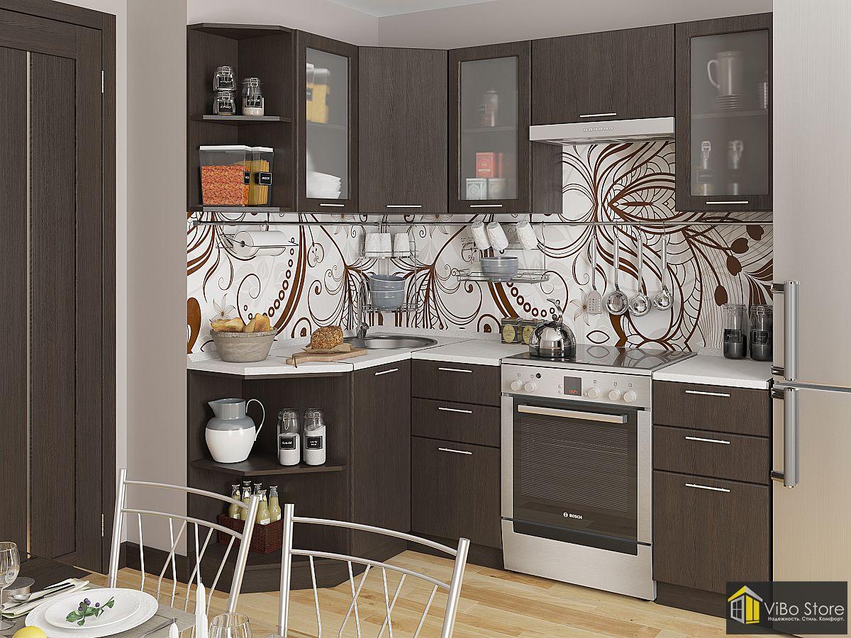 Современная кухня цвета темный шоколад 2140*1290