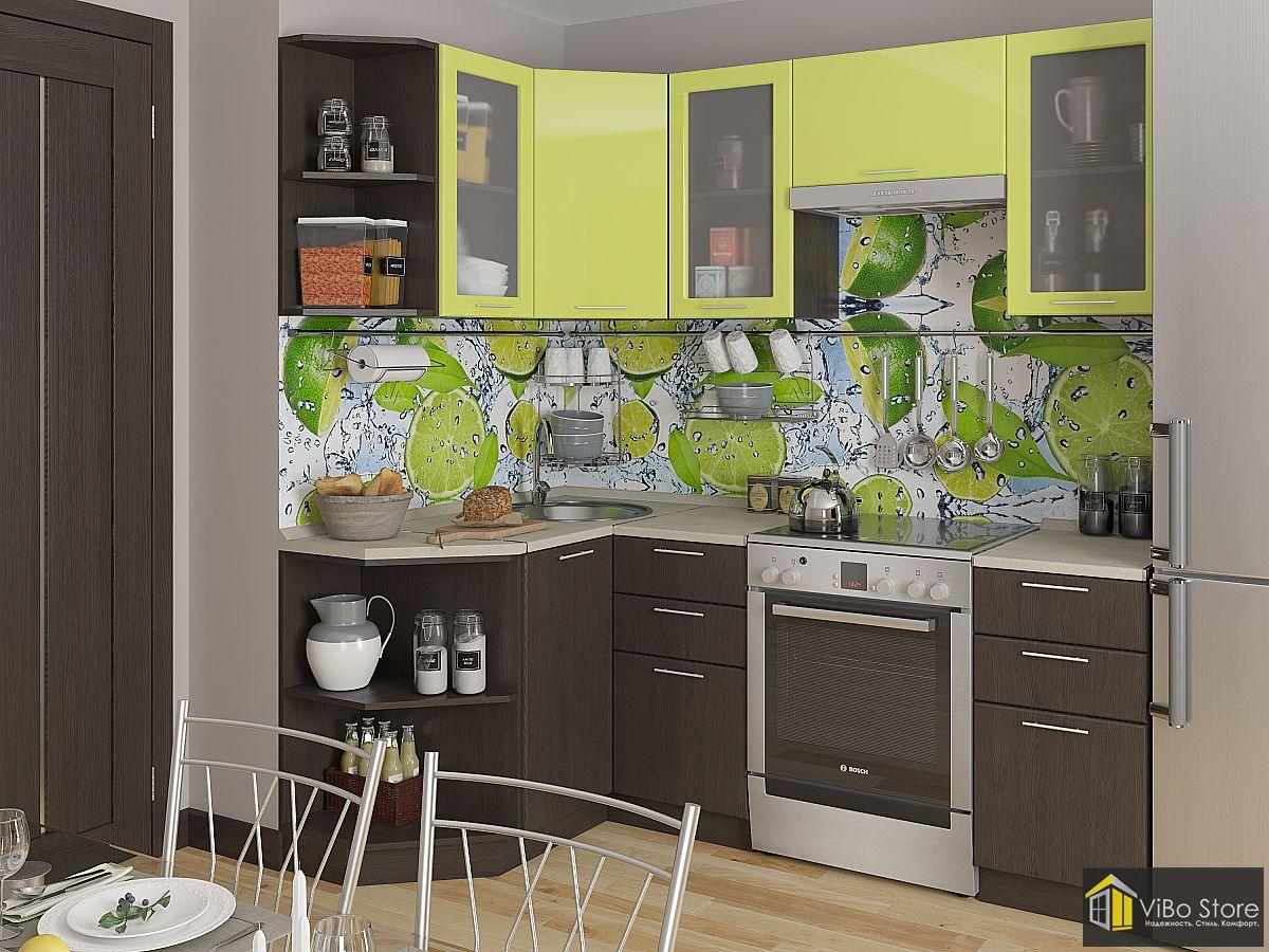 Современная угловая кухня лайм глянец, венге 2140*1290