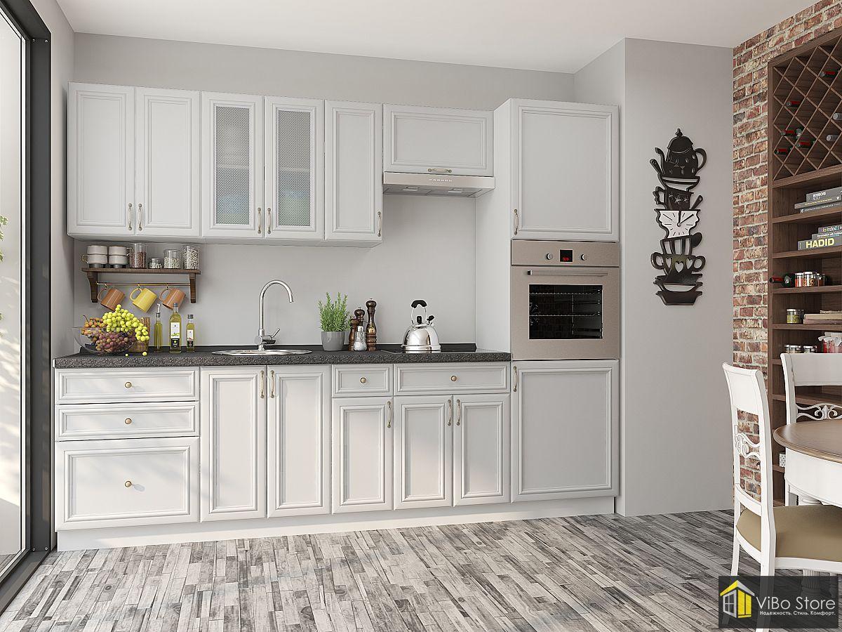 Бело-бежевая прямая кухня