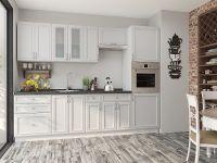 недорогая бело-бежевая прямая кухня