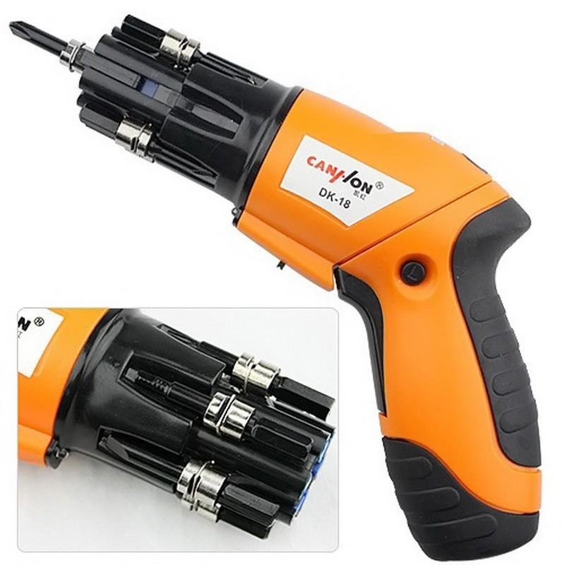 Аккумуляторная электрическая отвертка с набором головок Screwdriver DK-18