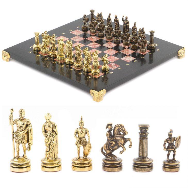 Шахматы Римляне, доска креноид змеевик 28 х28 см
