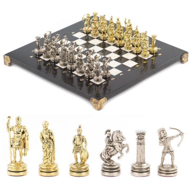 Шахматы Лучники, доска мрамор, змеевик 28 х28 см
