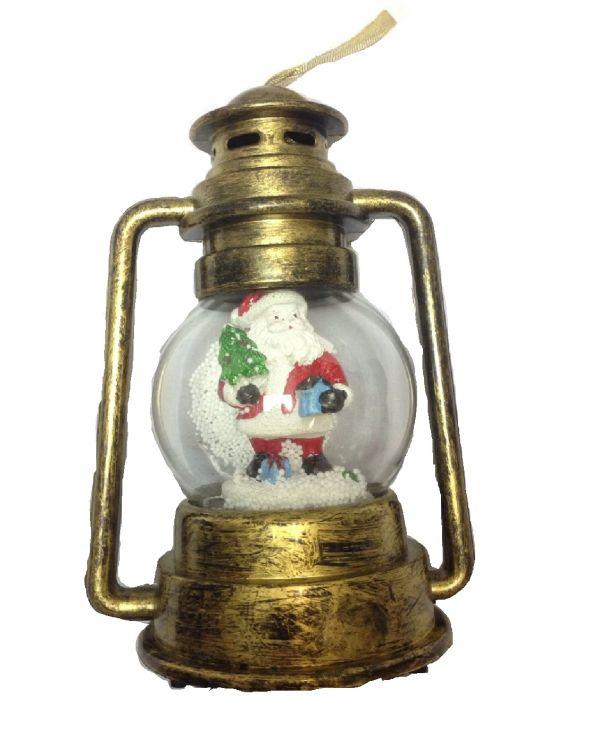 Ретро керосиновая лампа САНТА в СНЕЖНОМ шарике
