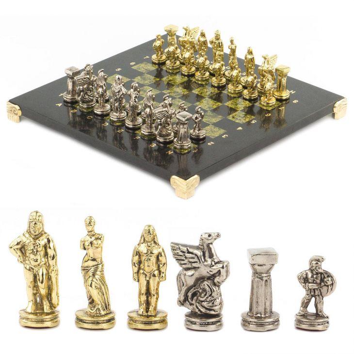 Шахматы Спартанцы, доска змеевик 28 х28 см