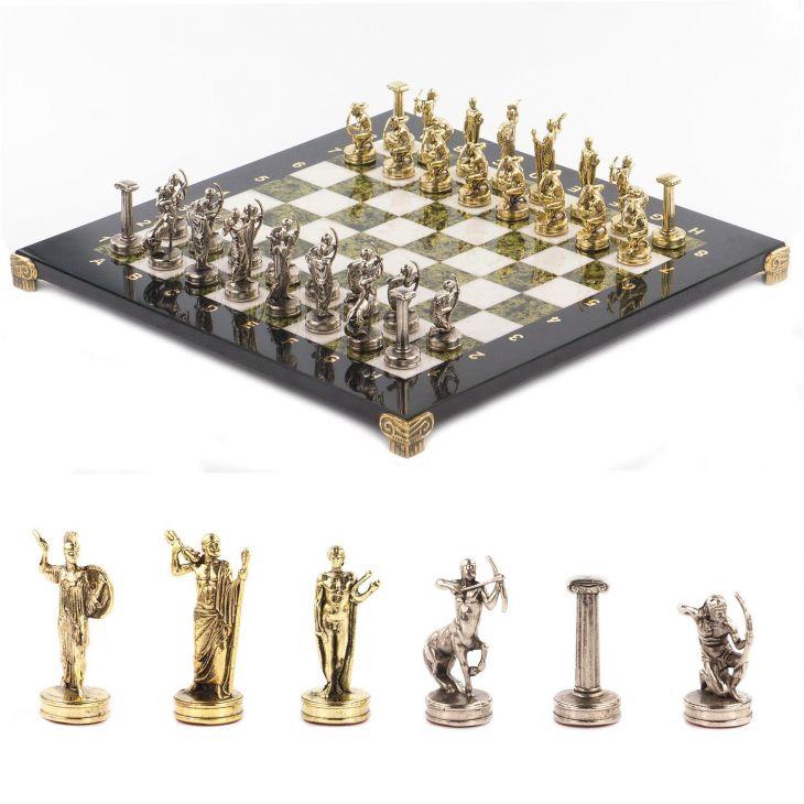 Шахматы Подвиги Геракла, доска мрамор, змеевик 36 х 36 см