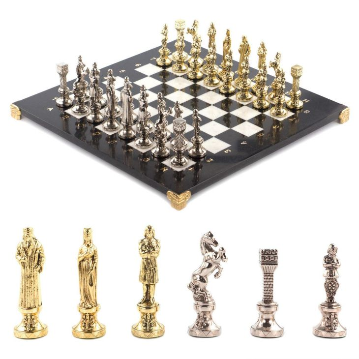 Шахматы Ренесанс, доска мрамор, змеевик 36 х 36 см
