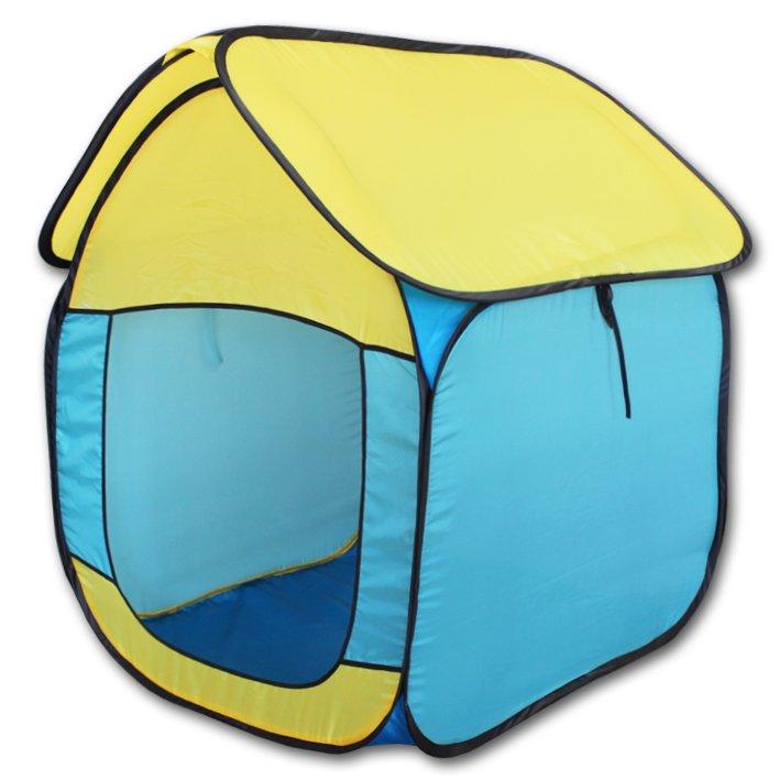Палатка BELON FAMILIA ПИ-005/К-ТР3 Домик, жёлто-голубой